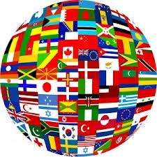 all the flags of the world shaped into a globe