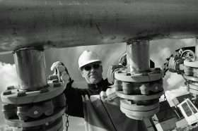 Oil and Gas Engineer in close up shot monochrome