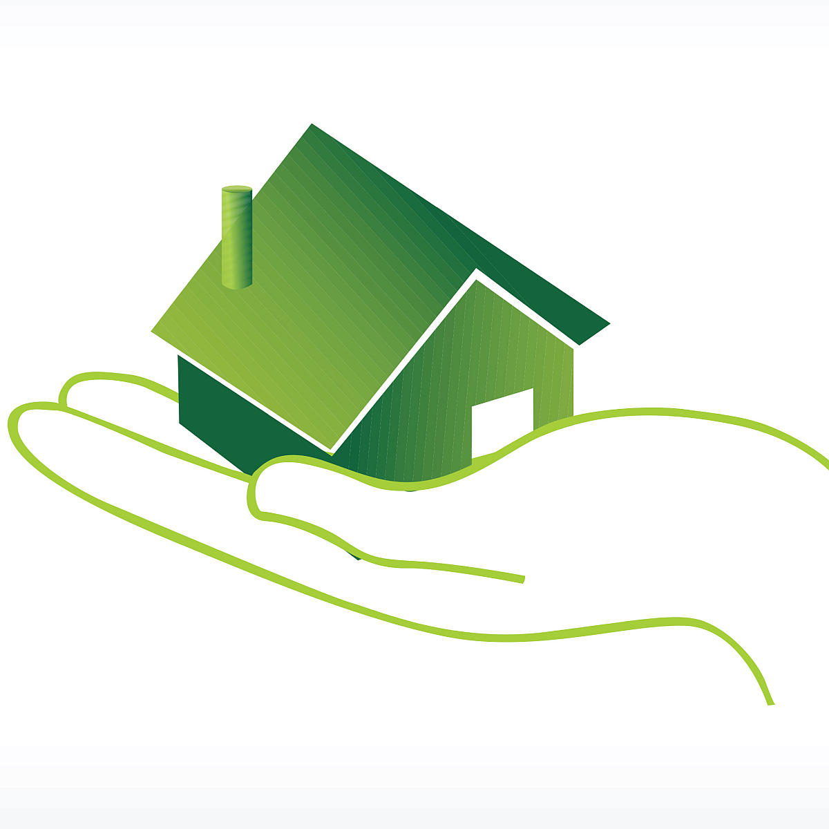 insurance concept - green hand cradling a home