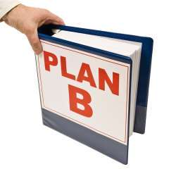 man's hand grasping ring binder marked plan b
