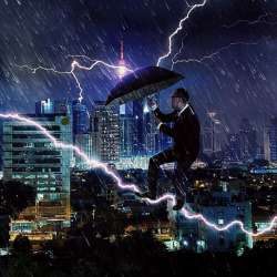 man walking on lightning bolt with umbrella (cityscape in the rain)